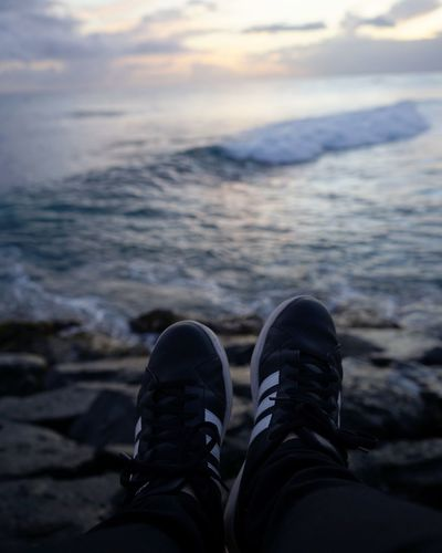 Beachphotography Shoe One Person Personal Perspective Low Section Human Body Part Human Leg Water Cloud - Sky Outdoors Nature Sea Standing Sunset Day Beach People One Man Only Wave Close-up Sky Oahu / Hawaii Reflection Honolulu, Hawaii Scenics