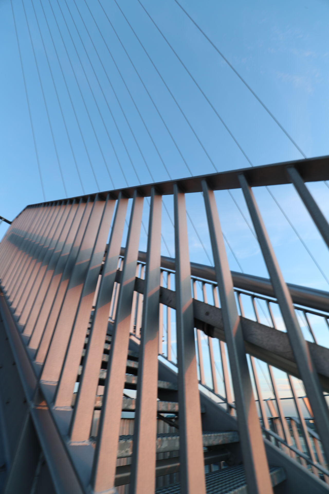 Architecture Building Exterior Built Structure Clear Sky Day Low Angle View Metal Construction No People Outdoors Pattern Railing Sky