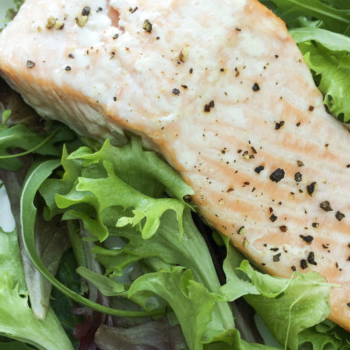Baked Salmon steak on a bed of leaves Baked Black Pepper Close-up Fish Food Food And Drink Freshness Full Frame Green Color Healthy Eating High Angle View Leaf Leaf Salad Leaves Salad Salmon Seasoned Steak Still Life
