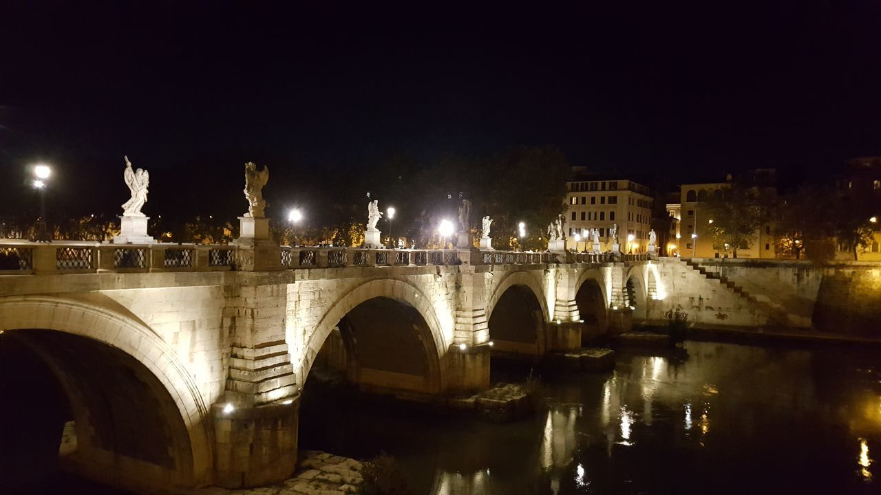 Bridge - Man Made Structure Travel Destinations City Architecture Illuminated Travel Night Sky History Connection Built Structure Arch Outdoors Street Light Reflection River Building Exterior Water Vacations No People Rome
