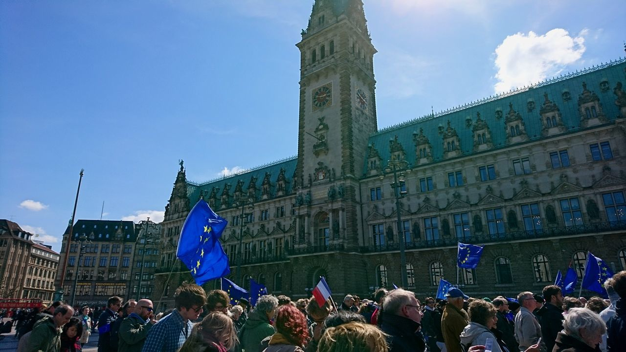 Pro Europe demonstration at Hamburg city hall. · Hamburg Germany Hh 040 Rathaus Town Hall City Hall Demonstration Protest Europe European Union Pro Europe Pro EU Sunny Day