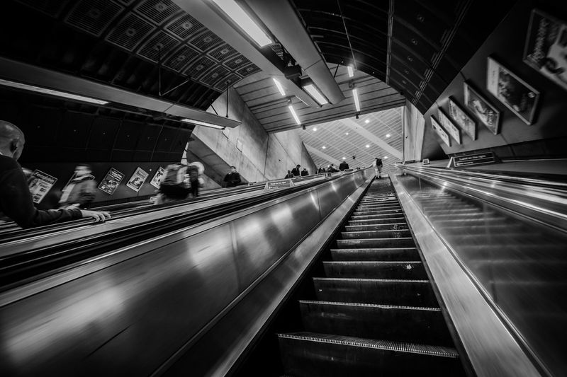 Subway BW Adult Bw Convenience Day Escalator Illuminated Indoors  Large Group Of People Lifestyles London Men Modern People Public Transportation Real People Staircase Steps Steps And Staircases Subway Subway London Subway Station Technology Transportation Tube Women
