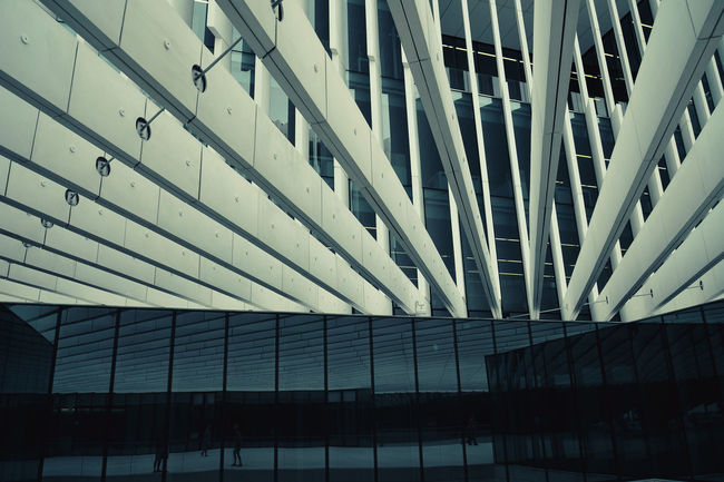 Architectural Feature Architecture Balcony Building Building Exterior Built Structure Ceiling City Connection Design Engineering Geometry Glass Glass - Material Low Angle View Modern Office Building Pattern Structure Window