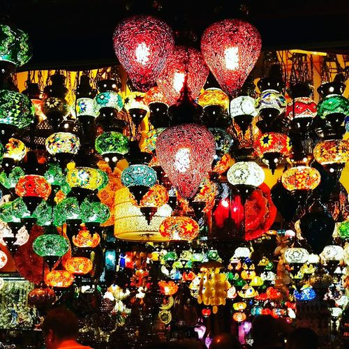 Multi Colored Night Lighting Equipment Illuminated Hanging Lantern Decoration Close-up Colorful Outdoors Ornament Abundance No People Dark Full Frame Man Made Object Color Palette