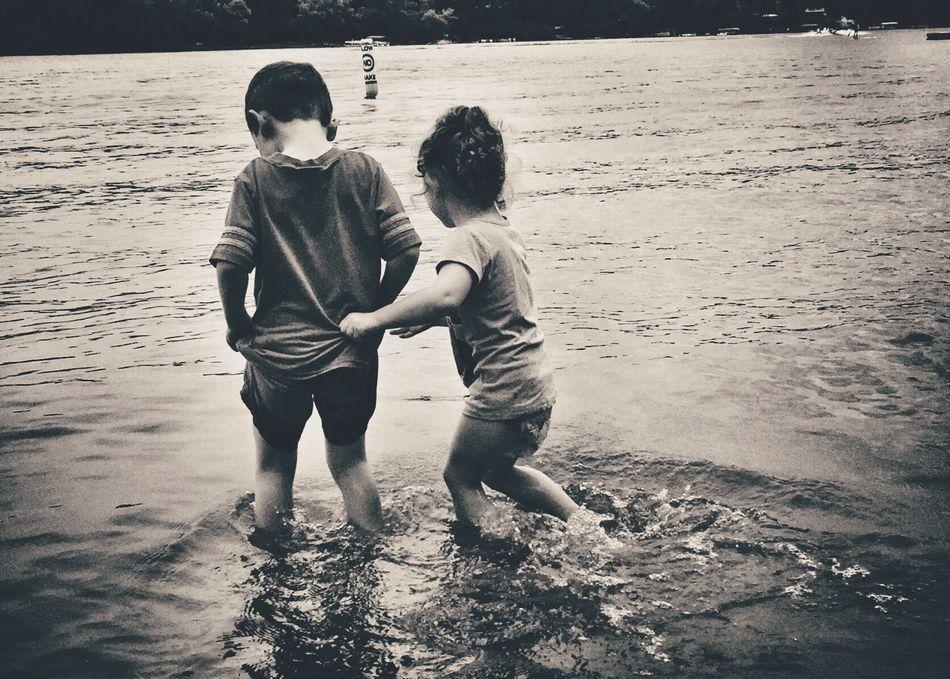 Love Iphoneonly IPhoneography Iphone6 Kids Children Lake Blackandwhite Black And White Black & White Holding Beach Swimming Lakeshore