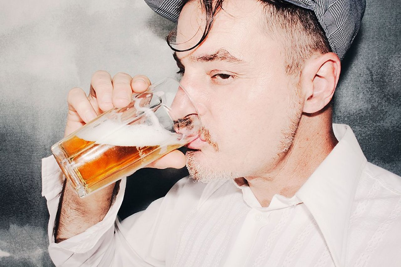 drink, food and drink, drinking glass, one person, refreshment, alcohol, holding, beer glass, one man only, drinking, headshot, men, studio shot, only men, frothy drink, close-up, healthy eating, freshness, indoors, food, young adult, adult, day, adults only, people