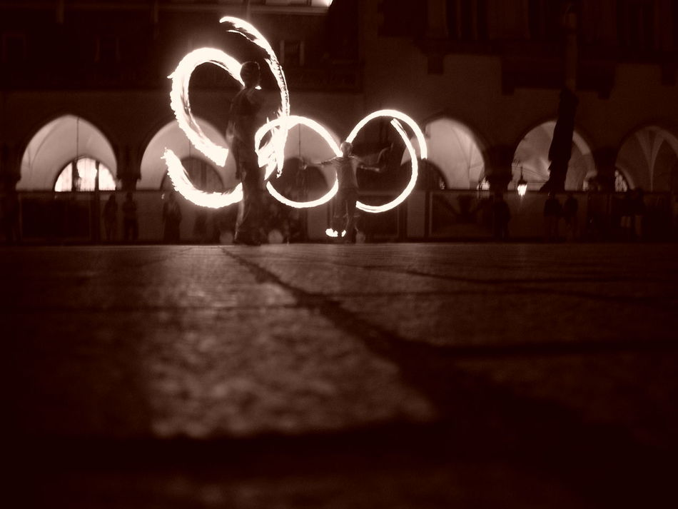 Street Performance Fire Dancer Night Low Perspective Twirled Light