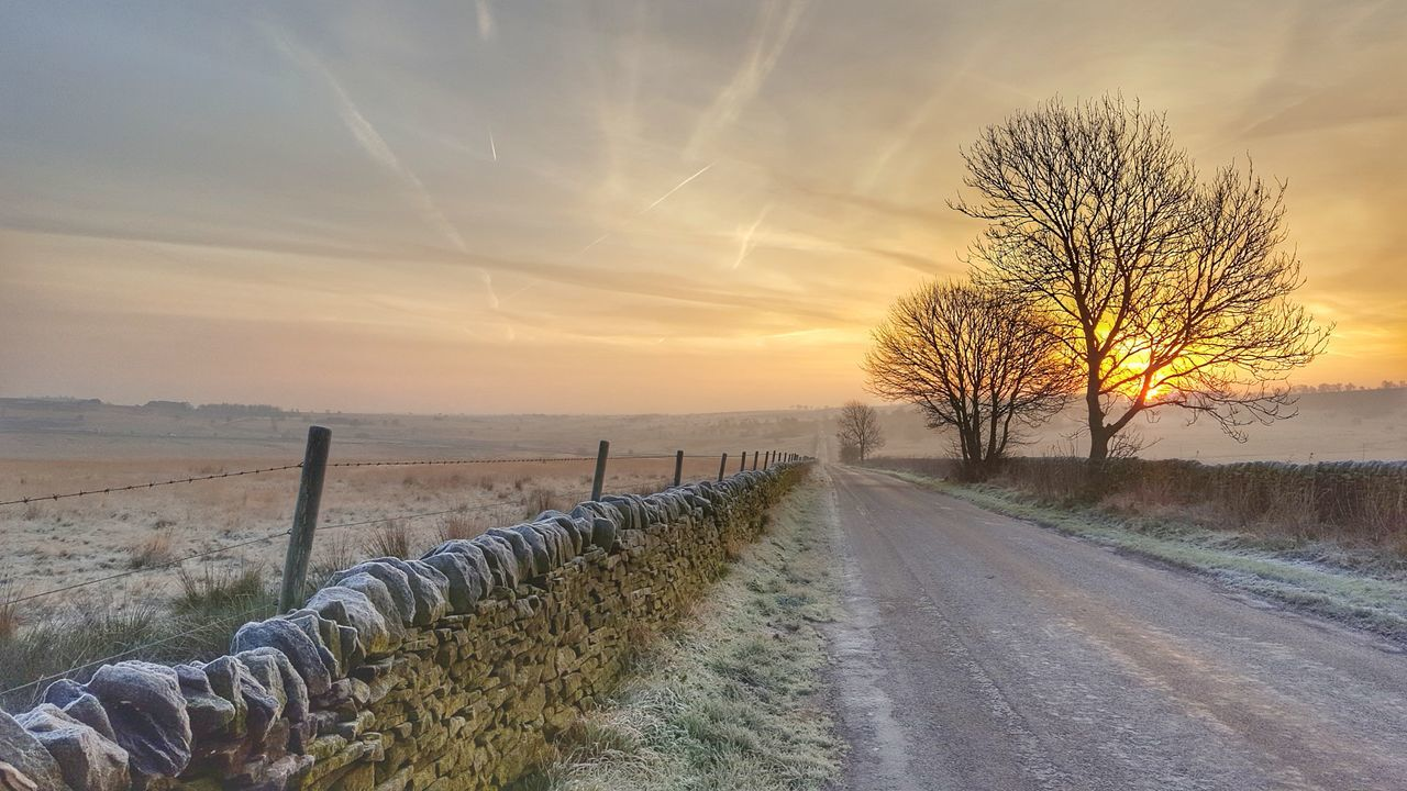 Frosty road. Outdoors No People Sky Beauty In Nature Frostymorning Cloudsporn Sunrise Frosty Mornings Winter Frost Peak District  Naturephotography Dramatic Sky Cloud - Sky Nature Photography Scenics Peak District  Sunlight