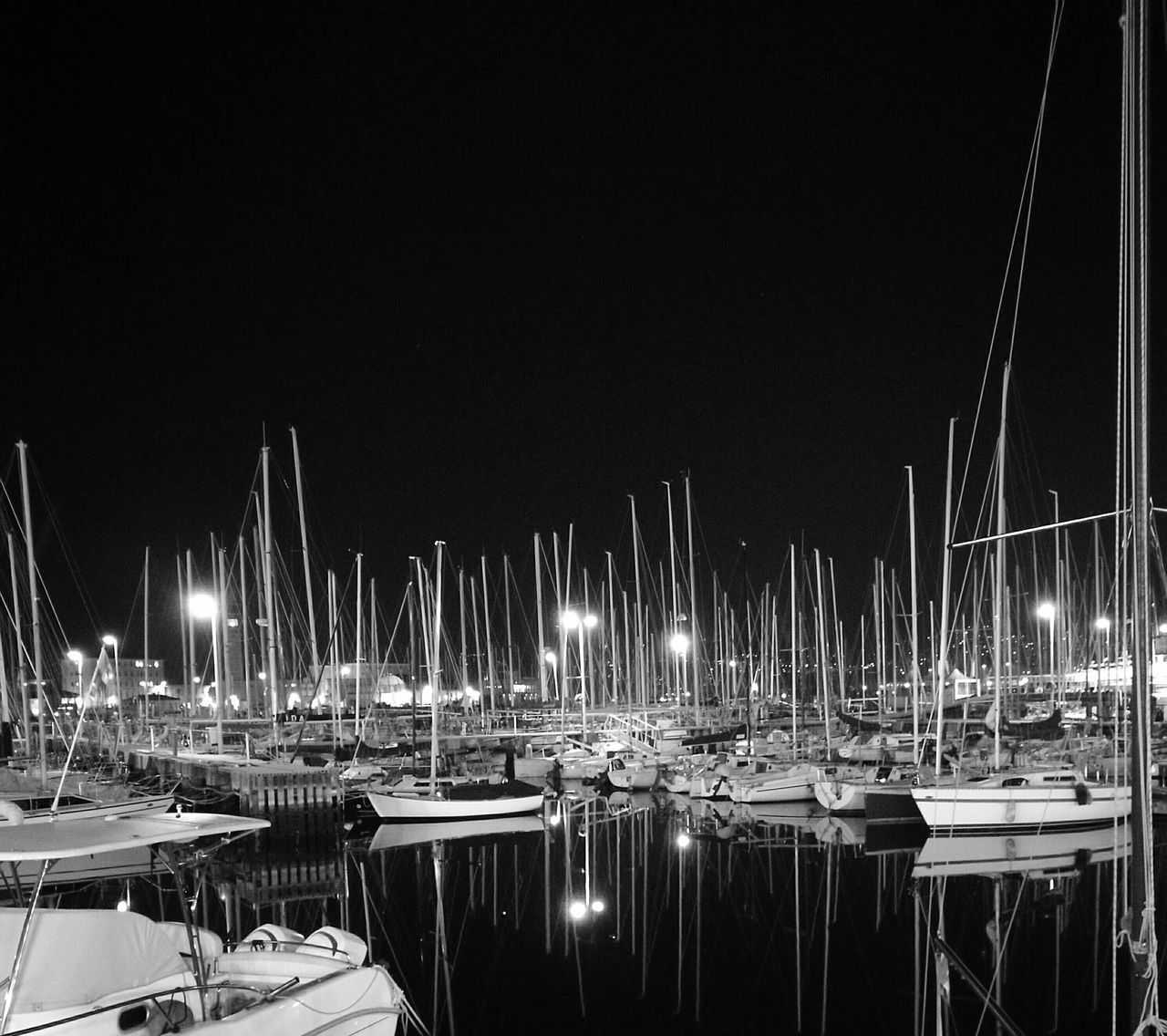 Masts Moored Water Nautical Vessel Tranquility Night No People Outdoors Harbor Sailboat Yacht Yachting