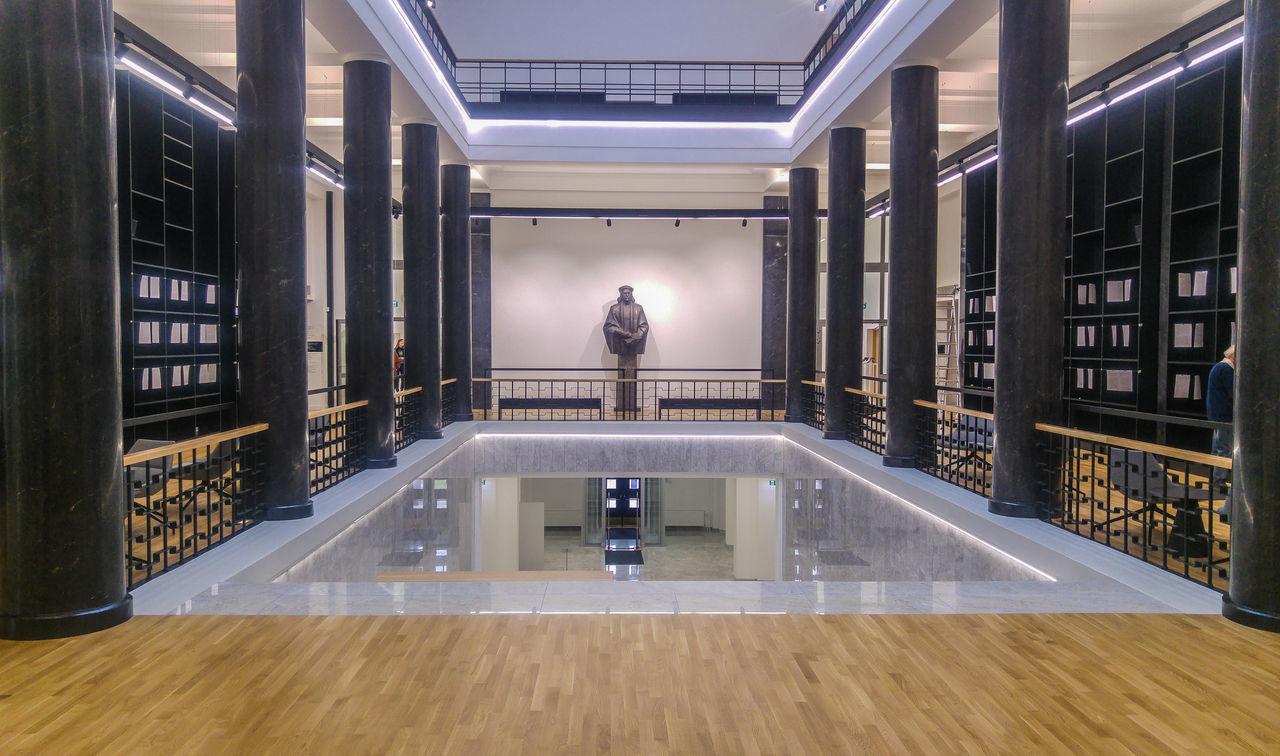 Illuminated Indoors  Interior Design Library Marble Mazvydas Perspective Public Places Sculpture Spaces Vilnius