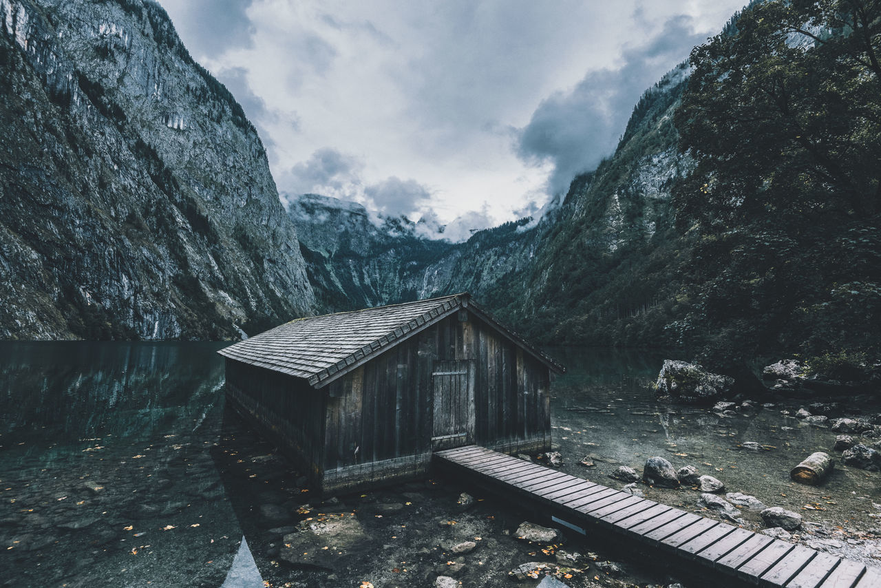 Mountain lake cabin Architecture Beauty In Nature Building Exterior Built Structure Cabin Day Lake Landscape_Collection Mountain Nature No People Outdoors Sky Tree Water