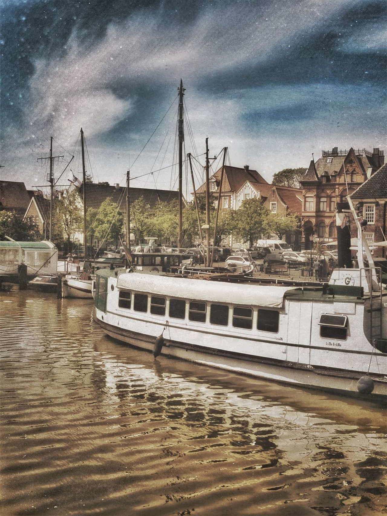 Nautical Vessel Transportation Mode Of Transport Water Sky Cloud - Sky Outdoors Architecture Harbor Myhometown Leer (Ostfriesland) Pixelated Taking Photos Urban Exploration EyeEm Multi Colored Architecture Sea Harbor City Landscape Ship Cityscape Blue