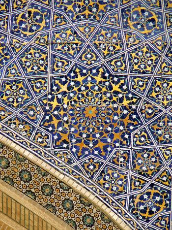 Islamic geometric mosaic ceiling from Tashkent. Architecture Backgrounds Close-up Complexity Geometric Design Islam Islamic Design Mosaic Multi Colored No People Pattern Ramadan Kareem Tashkent Textured  Tile Uzbekistan