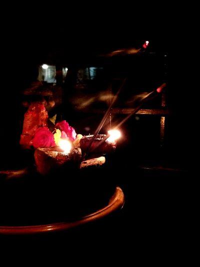Night Celebration Illuminated Indoors  No People Darkness And Light Agarbatti Vilakku!