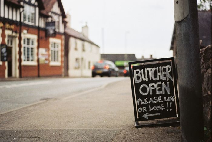 The Butcher is sending a clear message to the locals Architecture Building Exterior Built Structure Butcher Car Chalk Board Close-up Communication Focus On Foreground Local Outdoors Pub Road Road Sign Sandwich Board Street Text Your Ticket To Europe