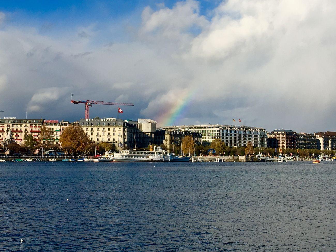 Geneve 🇨🇭 Switzerland Rainbow🌈 Geneva Lake Landscape_photography Traveling Photography Architecture Cloud And Sky