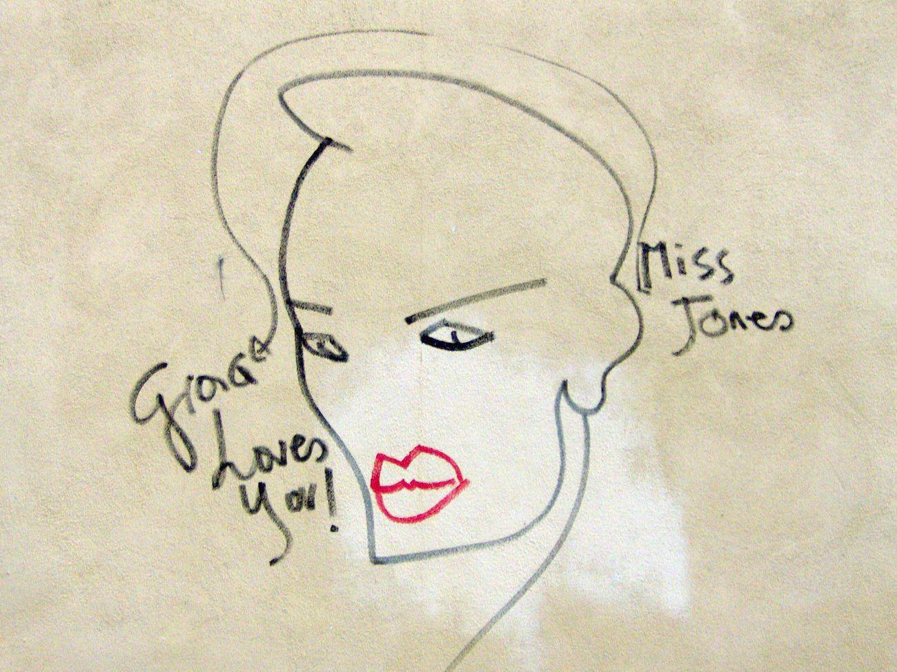 Grace. Drawing - Art Product Art And Craft Drawn No People Close-up Handwriting  Day Venice Grace Jones Architecture Wall Graffiti