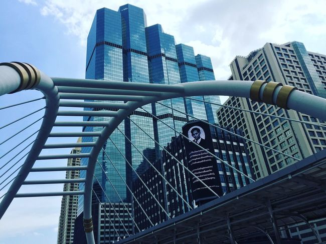 Architecture Built Structure Building Exterior City Cityscapes Skyscraper Bridge Bridge View Low Angle View Modern Day Railing Outdoors Sky No People Office Block Office Building Exterior Kingofking Farewell Sunny Day Afternoon BTS