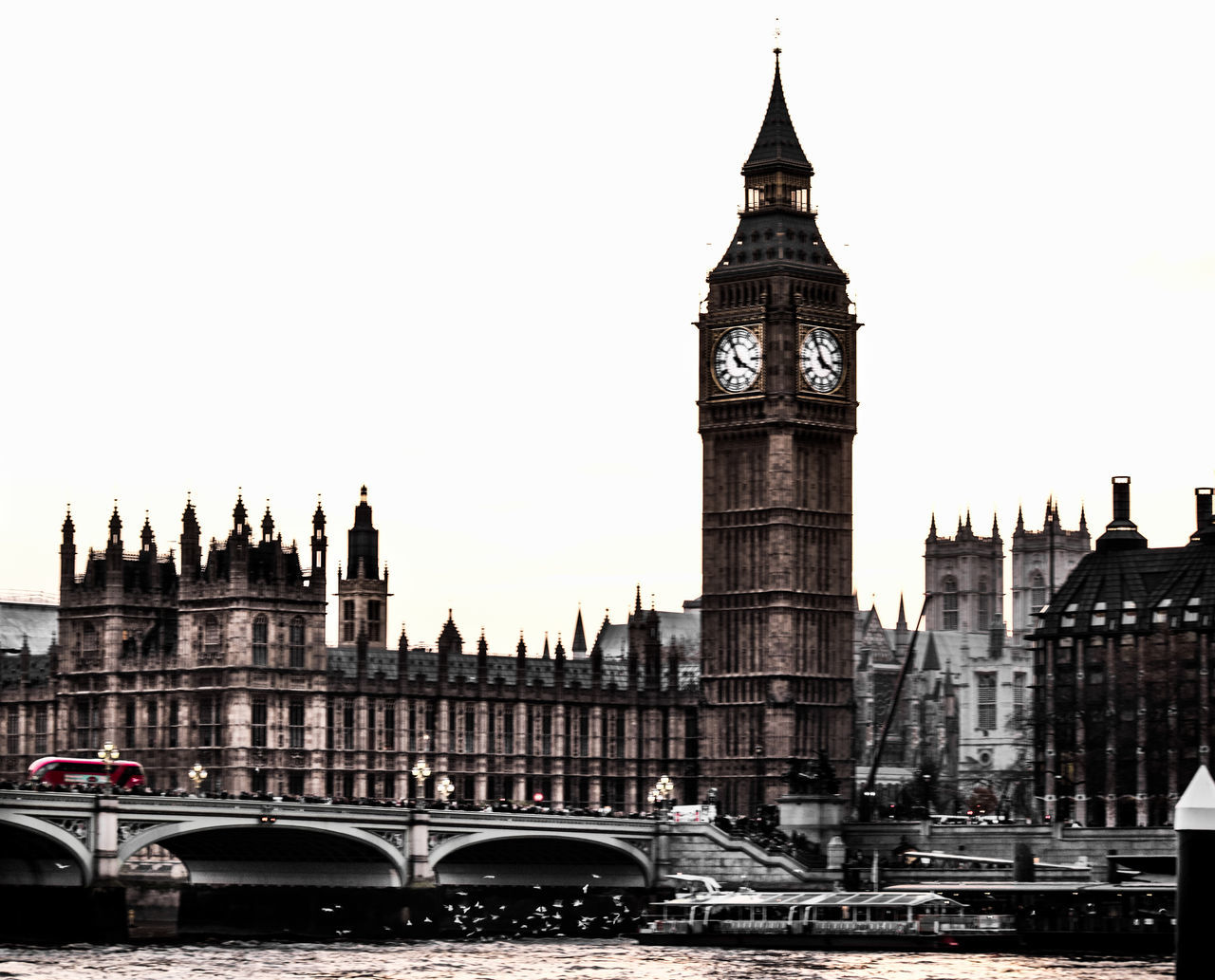 clock tower, architecture, travel destinations, tower, building exterior, bridge - man made structure, built structure, gothic style, transportation, river, travel, tourism, city, government, day, clock, outdoors, double-decker bus, water, no people, time, sky, cityscape, clock face, politics and government