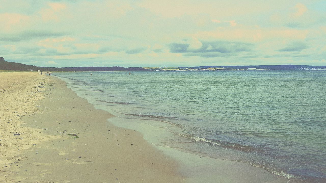 sea, sky, scenics, tranquility, beauty in nature, tranquil scene, nature, beach, water, cloud - sky, sand, outdoors, no people, day, horizon over water, landscape