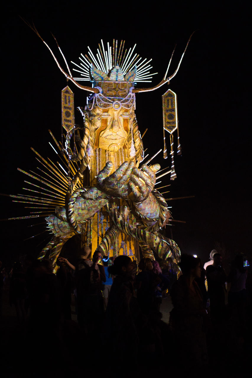 night, celebration, illuminated, statue, outdoors, no people