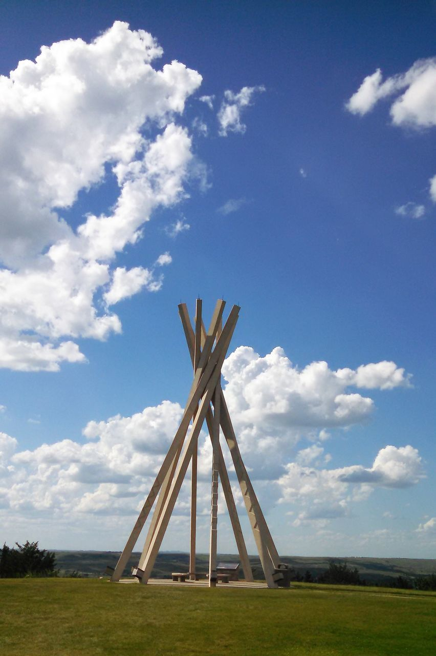 cloud - sky, sky, day, field, no people, outdoors, blue, nature, grass, built structure, architecture, tree