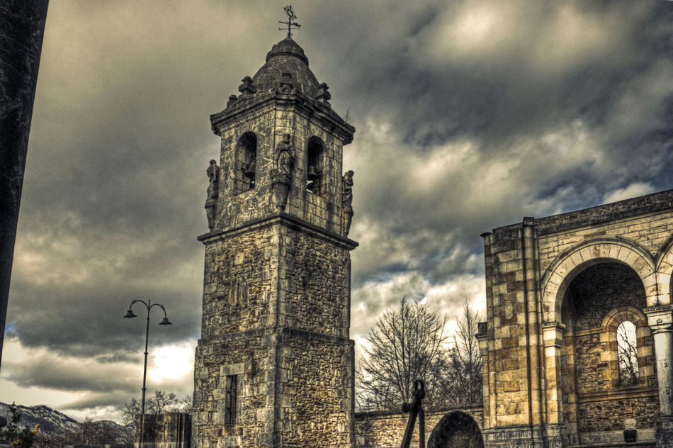 Old bell tower Architecture Sky Built Structure Building Exterior Cloud - Sky Clock Tower Low Angle View Tower Ancient Architecture Bell Tower Spaın Vizcaya Travel Destinations Outdoors No People Religion City Tree Clock Day From My Point Of View