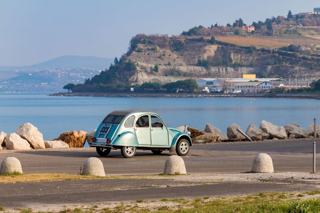 Automobile Blue Car Citroen Citroen 2cv Classic Coast Exploring Eye4photography  Outdoors Retro Road Sea Slovenia Standing Water Sunnyday Tranquility Travel Traveling Trip Vacation Vintage Water Oldie  Izola
