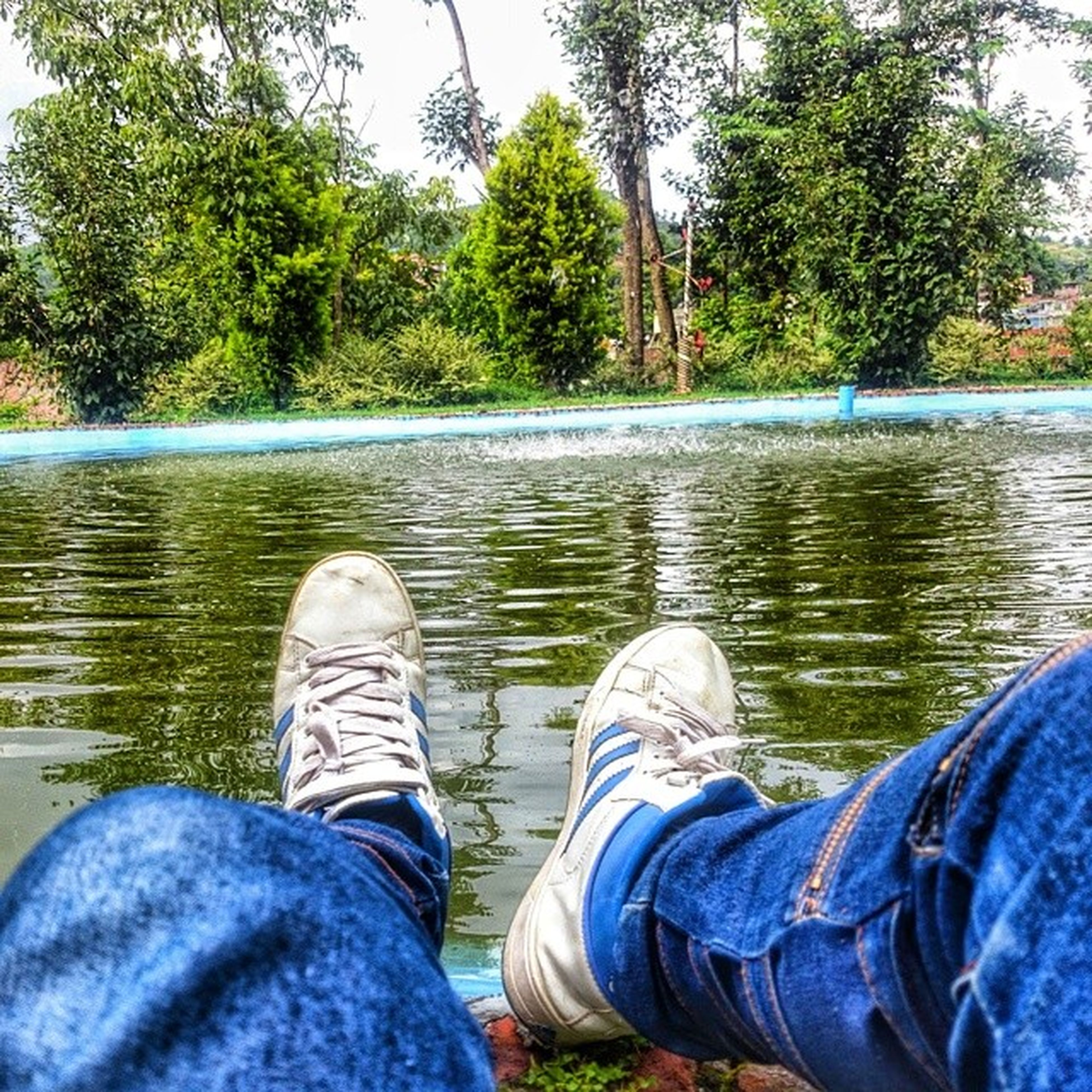low section, water, person, personal perspective, shoe, lake, men, lifestyles, leisure activity, jeans, tree, river, standing, nature, blue, relaxation, human foot