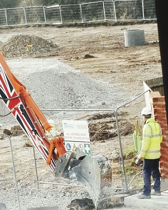 Contructionwork Digger Man Hardhat  Backview Digging Building Site