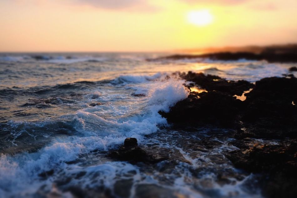 Sea Nature Beauty In Nature Sunset Wave Water Horizon Over Water Scenics Motion Sunlight Miniature Eye4photography  Water_collection Splashing EyeEm Best Shots EyeEm Gallery Waterfront Life Is A Beach My Point Of View Sky Beach Power In Nature Close-up Day