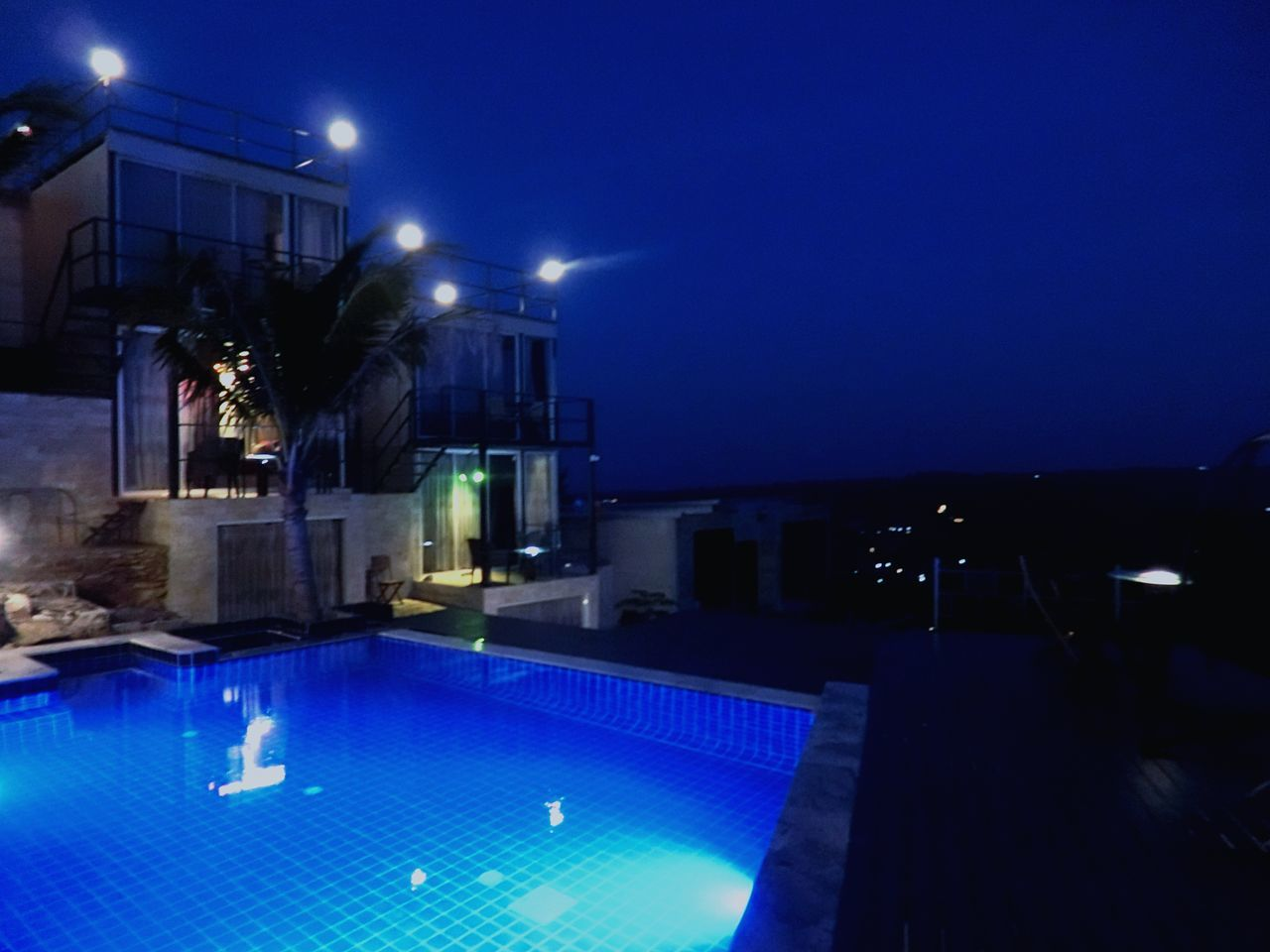 Blue Swimming Pool Illuminated Night Dark Building Exterior No People Blue Color The Resort ภูนางฟ้า