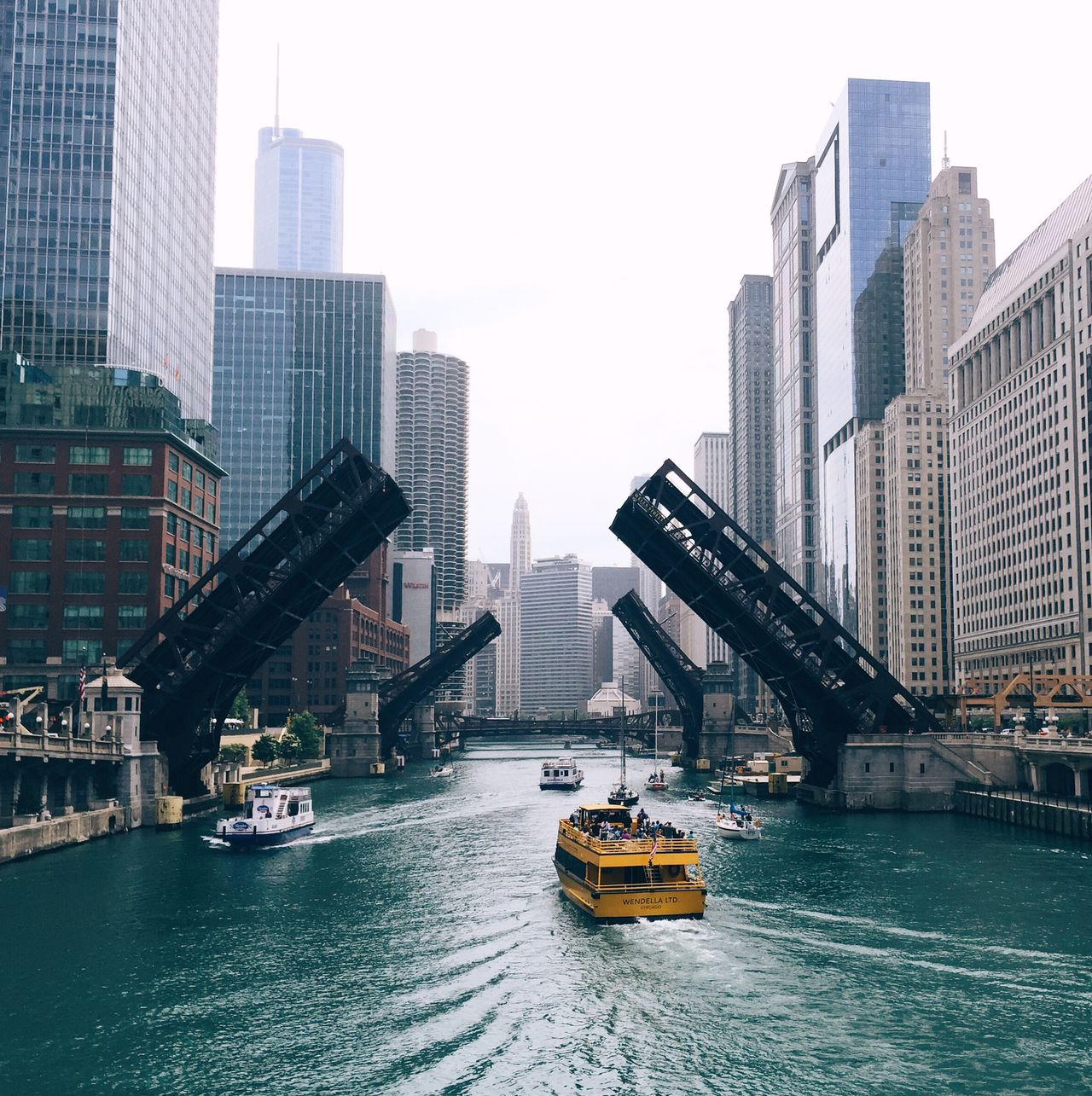 Beautiful stock photos of cityscapes, Architecture, Boat, Bridge - Man Made Structure, Building