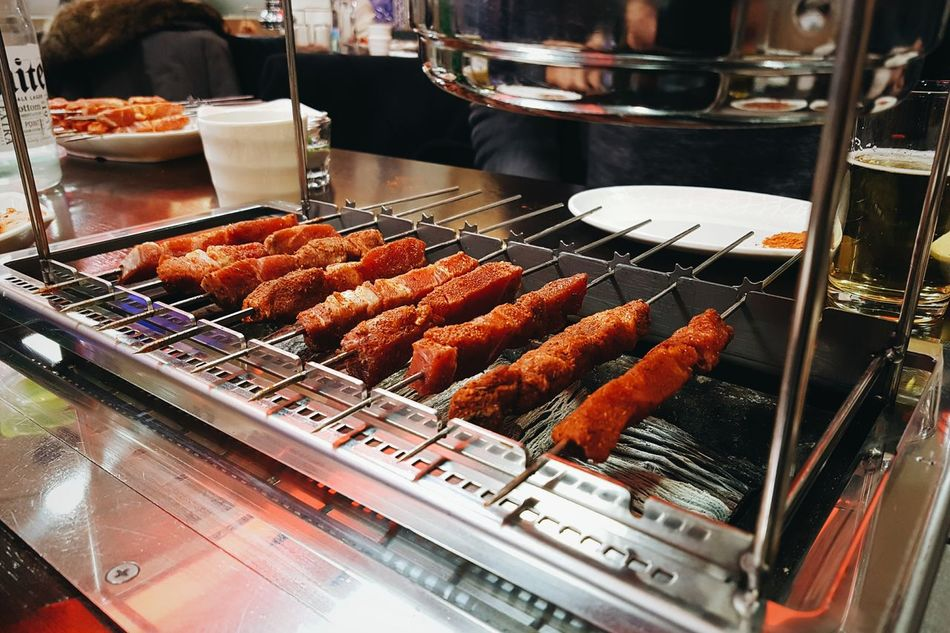 Meat Food Barbecue Grill Grilled Barbecue Freshness Food And Drink Sausage Indoors  Heat - Temperature Lamb Skewers Chuar Sheep No People Skewer Food State Day Food And Drink Chinese Food Food lamb skewer chinese style in seoul south korea Barbeque Grilled Meat