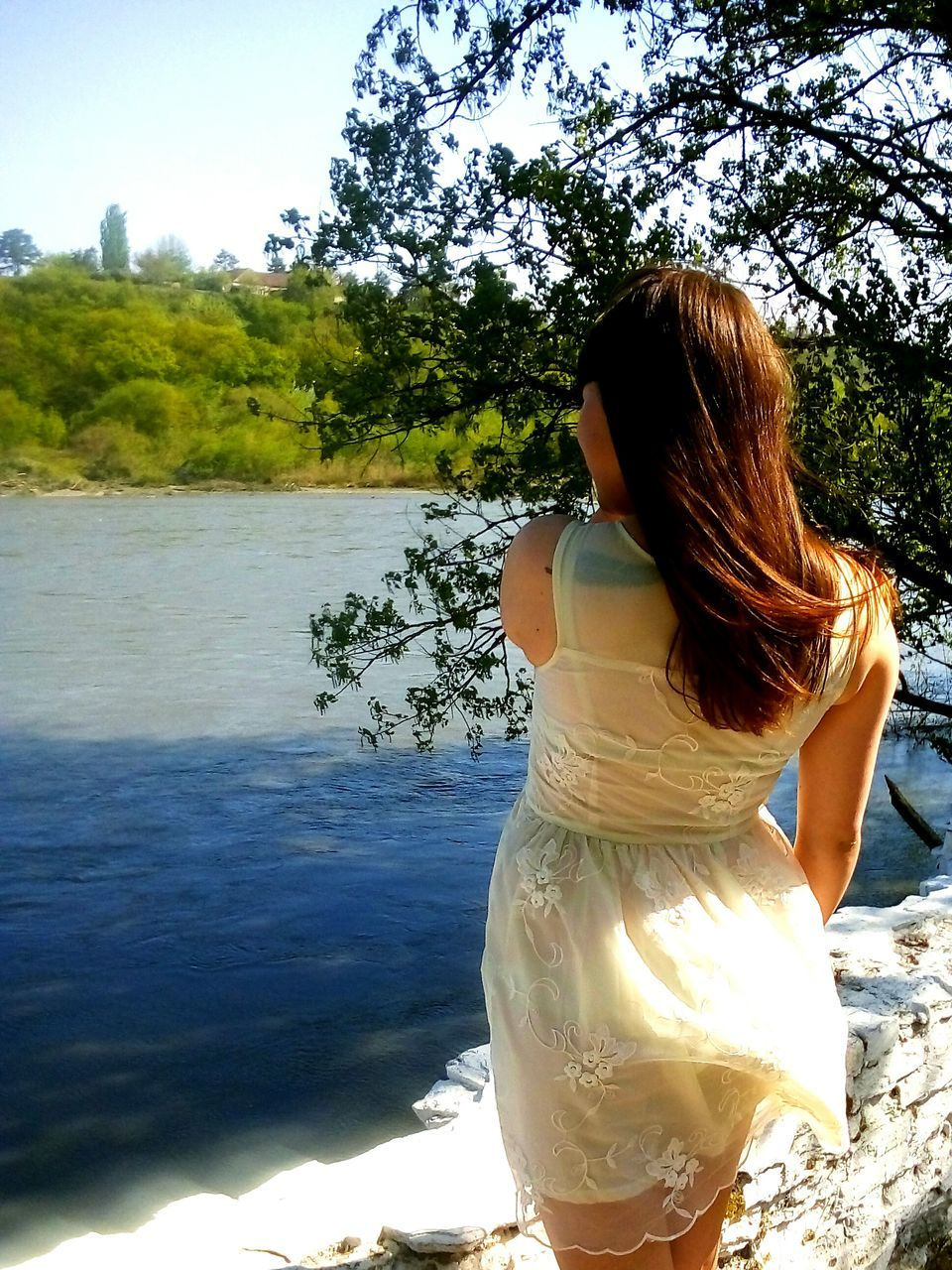 rear view, real people, one person, standing, leisure activity, nature, lifestyles, long hair, day, tree, tranquility, women, sunlight, outdoors, beauty in nature, young women, water, young adult, sky