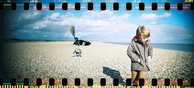 Another one in actual film! Lomo Sprocket Rocket Panorama Kids Beach