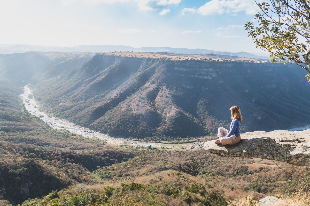 Backpack Backpacking Beauty In Nature Calm Canyon Cloud - Sky Day Gorge High Landscape Ledge Leopards Rock Meditation Mountain Oribi Gorge Overhang Scenic Sky Sky And Clouds South Africa Tranquil Scene Tranquility Traveling View From Above Woman