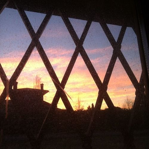 Sunset. Behind a dirty window. Sky Silhouette No People Sunset Nature Architecture