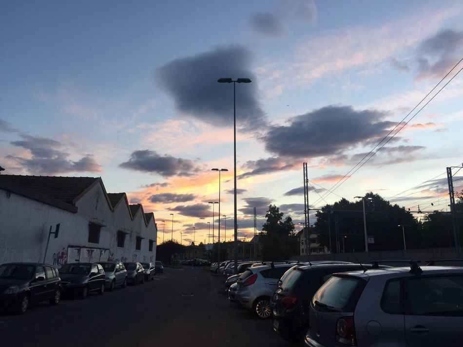 Battle Of The Cities Car Street Sky Cloud Parking Dramatic Sky Before School Morning 7.00am Waiting For A Train