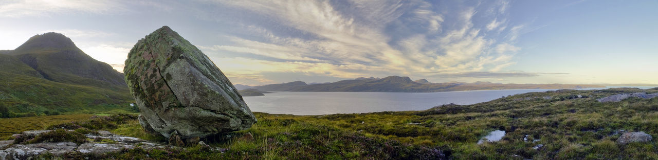 Sunrise over Loch Broom. Par of the Unesco Geopark. Clouds Dawn Erratic Geology Geopark Highlands Idyllic Landscape Loch Broom Mountain Non-urban Scene Outdoors Panorama Physical Geography Remote Scenics Scotland Sky Sunrise Tranquil Scene Tranquility Unesco Water