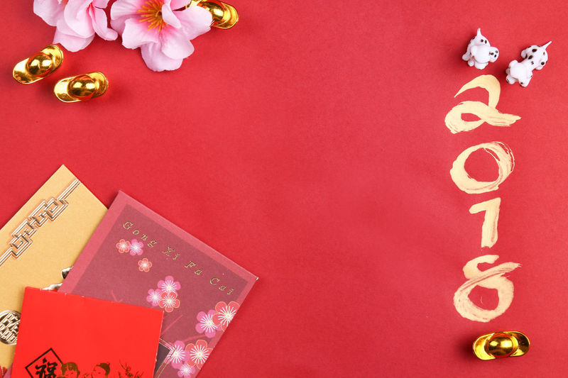 Miniature dogs with chinese new year decorations for year 2018 2018 Dogs Gold Red Angpow Astrology Calendar Calligraph Chinese New Year Decorations Envelopes Zodiac