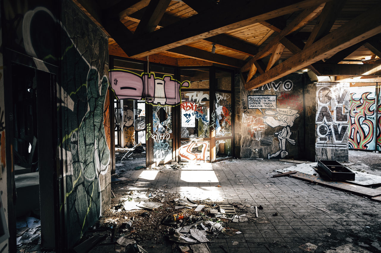 graffiti, architecture, built structure, indoors, no people, day