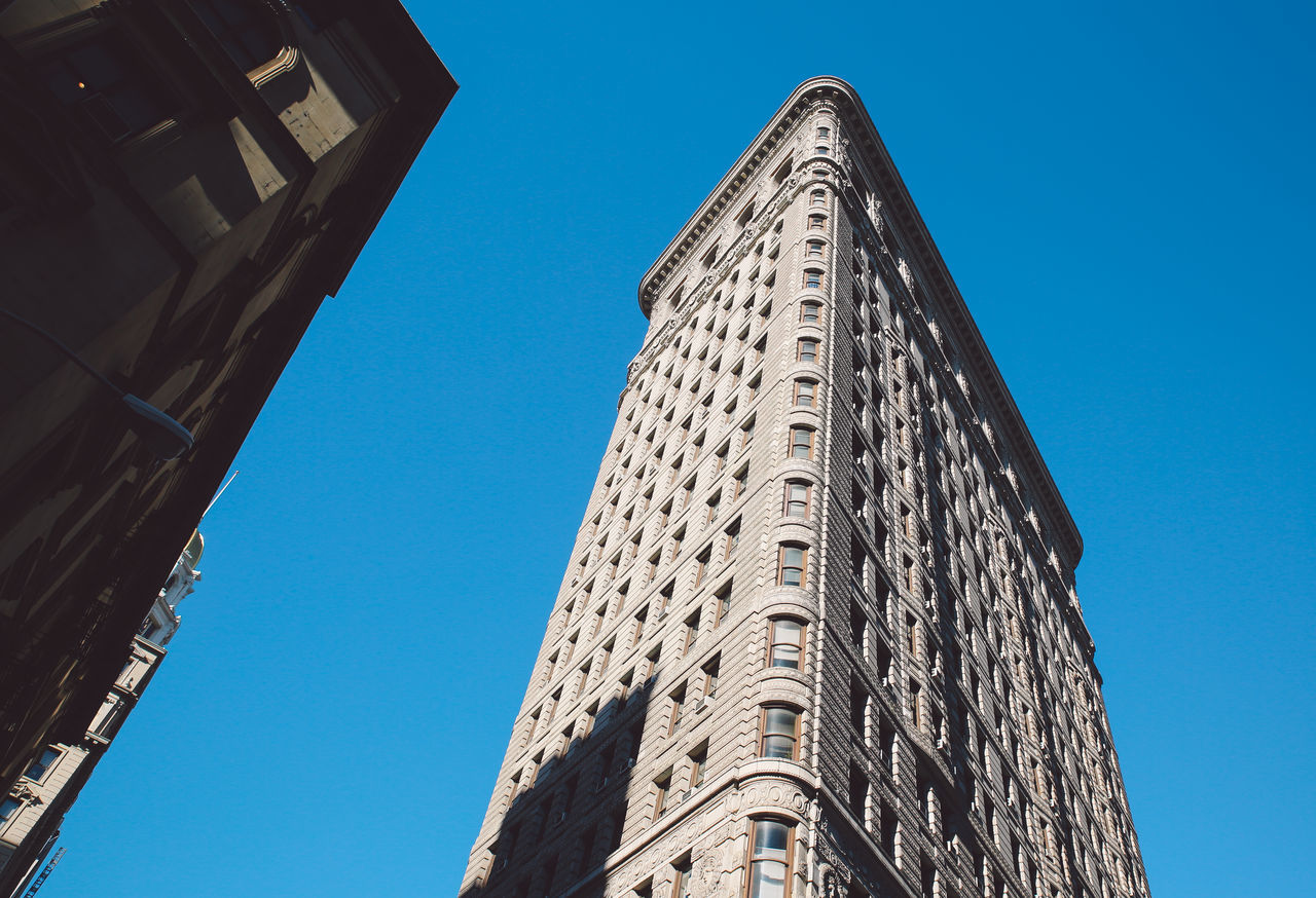 Architecture Blue Sky Building Exterior Built Structure City Clear Sky Day Flatiron Building Low Angle View Manhattan New York New York City No People NYC Outdoors Sky Skyscraper Sunny The City Light Tower Winter