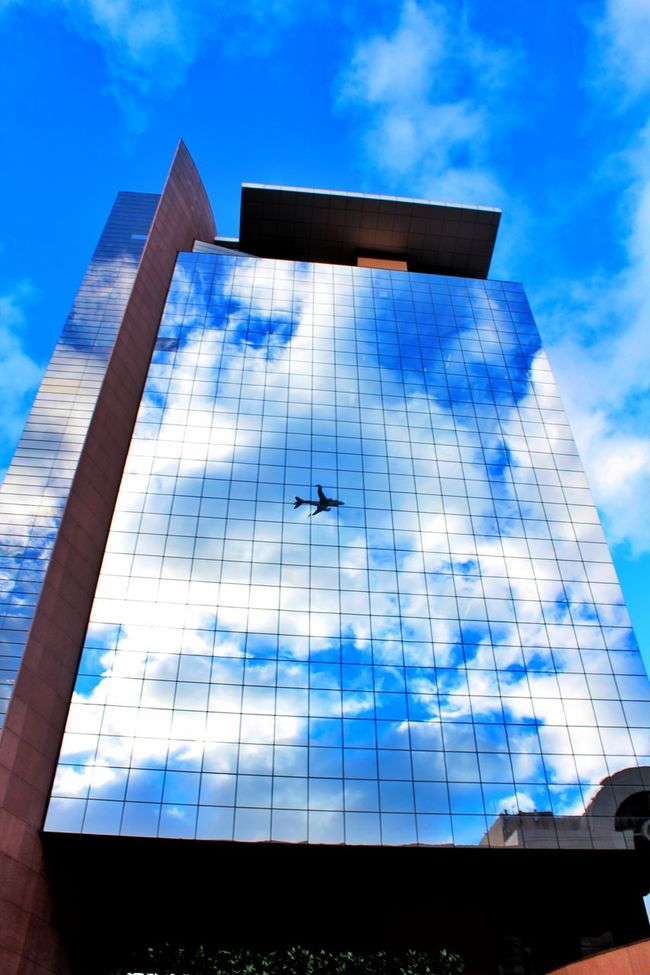 Blue Low Angle View Building Exterior Architecture Built Structure Reflection Sky Modern Glass - Material Office Building Day Cloud - Sky Cloud Architectural Feature Fantastic View City Life My Veiw Window Sao Paulo - Brazil Triping