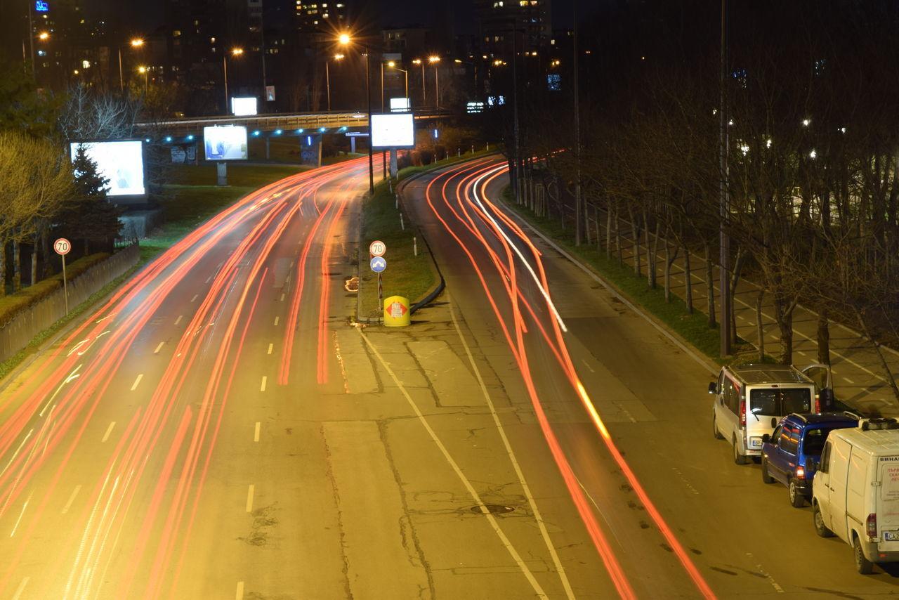 night, illuminated, motion, speed, transportation, road, land vehicle, light trail, street, blurred motion, long exposure, car, outdoors, street light, real people, men, city, people