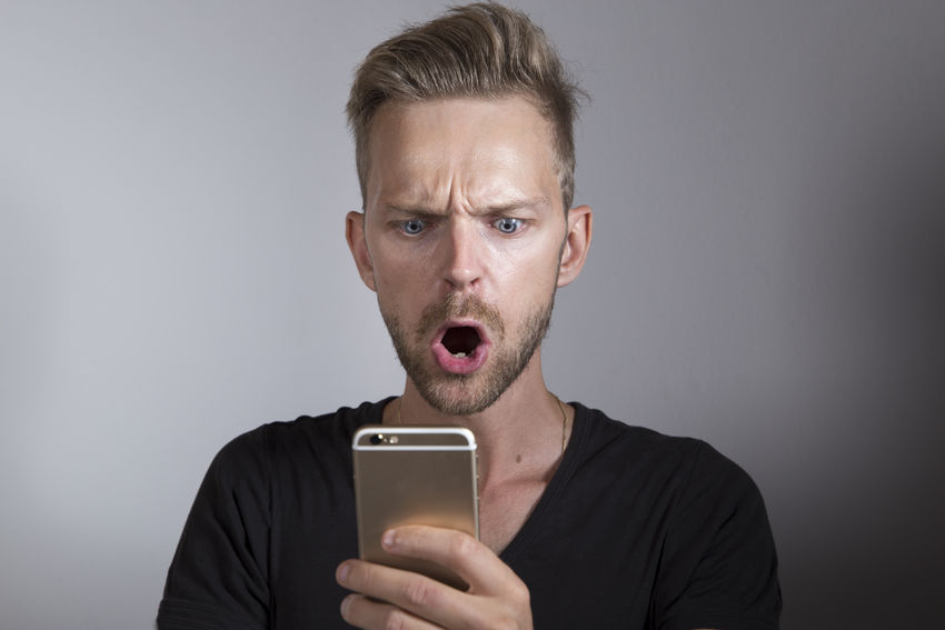 App Battery Broken Cellphone Cheating Checking Error Expression Face Forgotten Looking Man Mistake Mobile News Password Phone Reading Screen Shock Shocked Smartphone SMS Surprise Technology