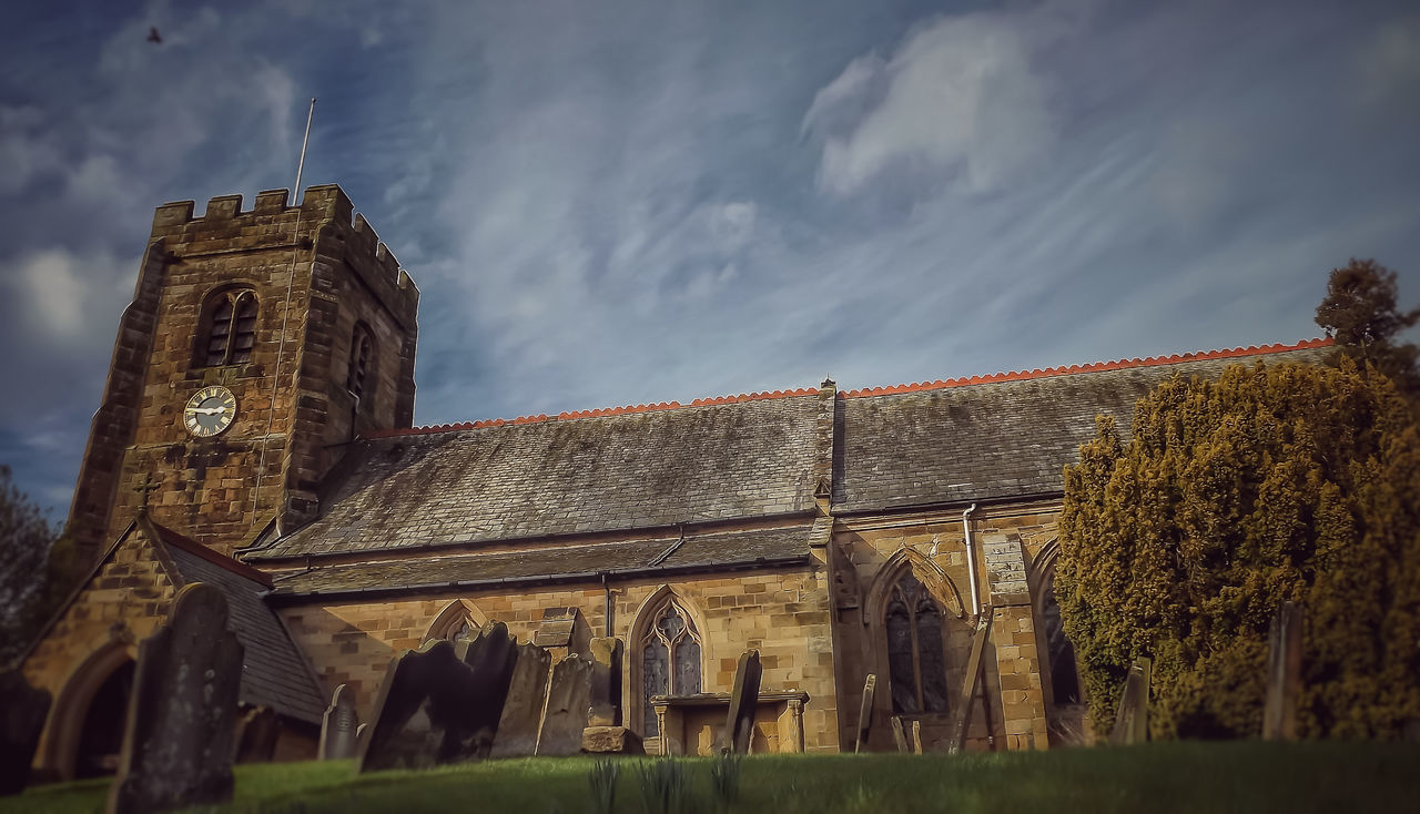 architecture, built structure, building exterior, history, sky, low angle view, no people, day, outdoors, religion, cloud - sky, spirituality, nature, ancient civilization