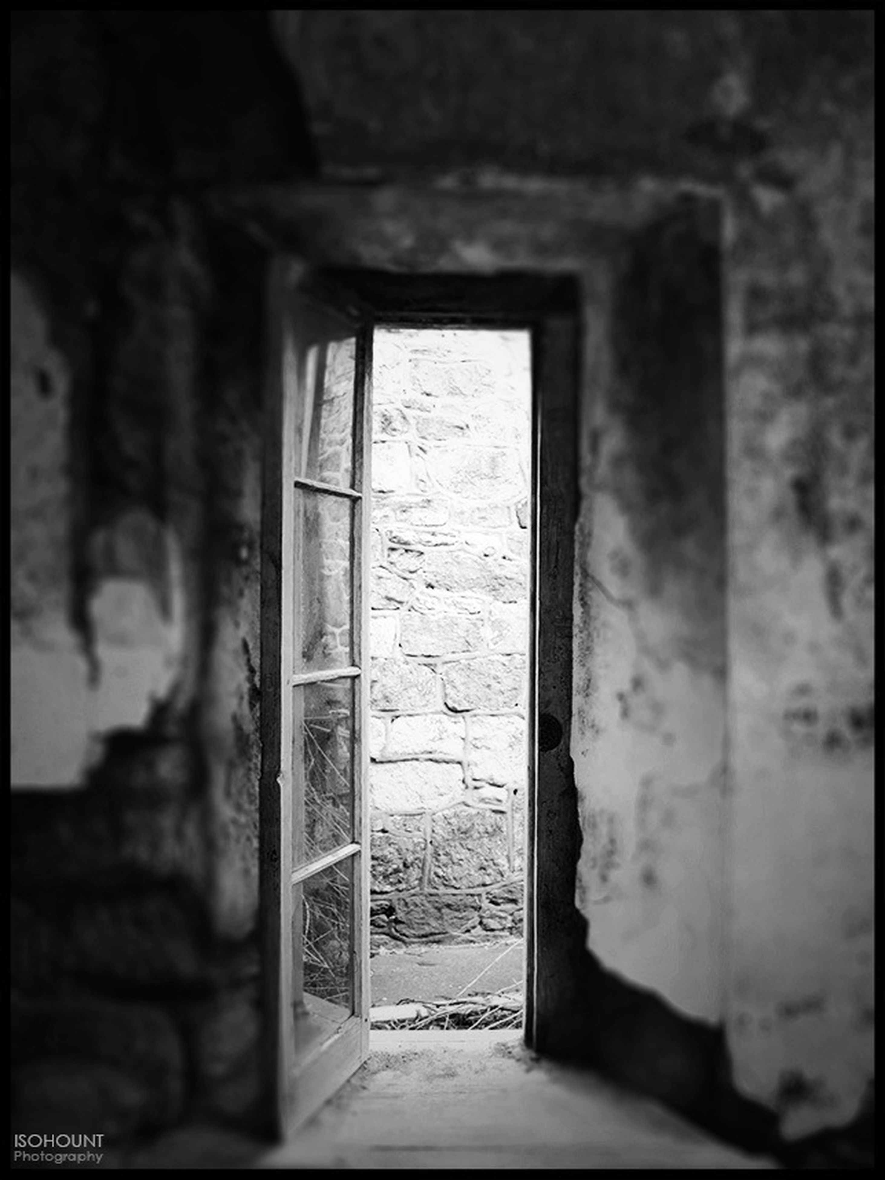 architecture, built structure, window, building exterior, old, indoors, door, abandoned, wall - building feature, house, closed, entrance, weathered, day, doorway, obsolete, damaged, wall, building, auto post production filter
