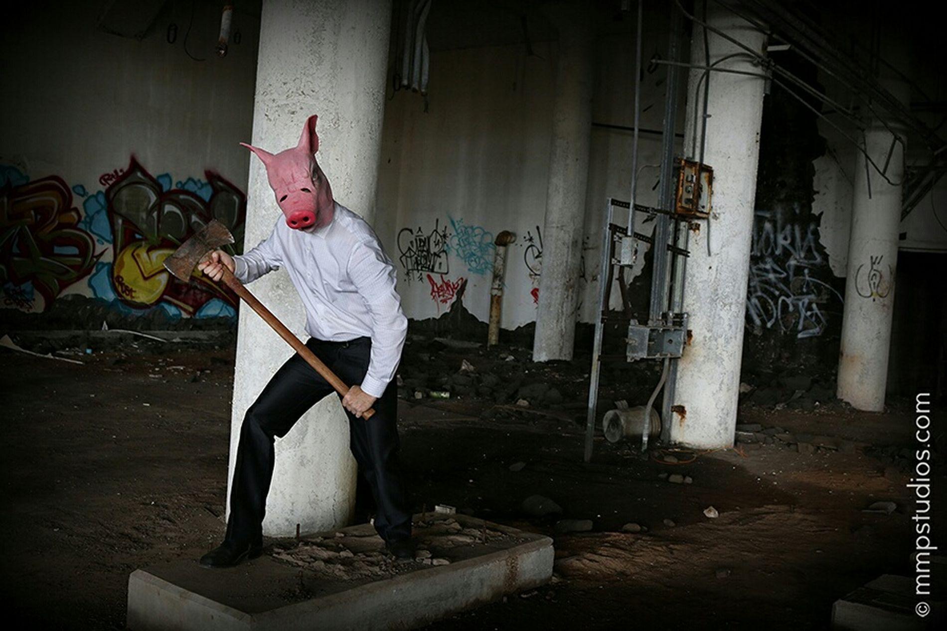 @melvinmaya @mmpstudios_com Photography Photoshoot Masked Pig Mask Axe Warehouse Abandoned Building Graffiti Creepy Eerie Random People Galveston Texas Followme