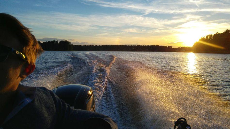 Sunset Reflection Water Lake Sky Nature Sunset_collection 30knotsat Storsjön Sandviken Evening Light Boat Ride